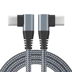 Grå Tyg-Snabb-Laddkabel PD QC3.0 3A 60W USB C-C 100cm