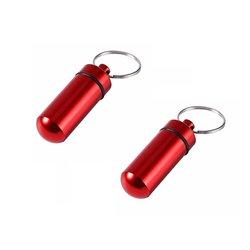 2st Röda Piller- Medicin-burk/behållare på nyckelring