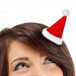 Gulligt hårspänne med tomteluva med glitter i tofsen