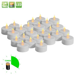 24 st söta värmeljus med timer, flimrande låga och batteri