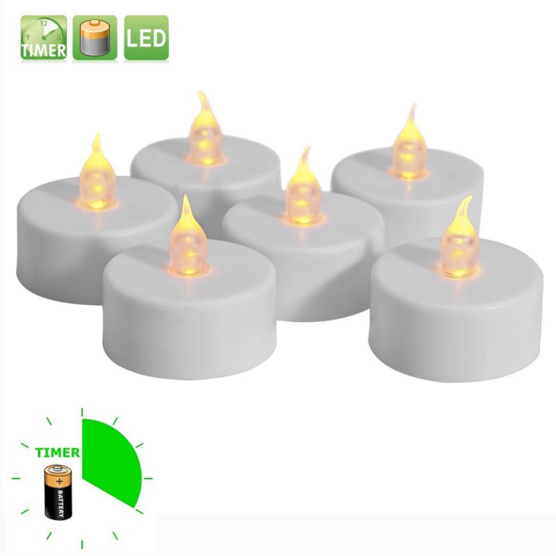 6 st söta värmeljus med timer, flimrande låga och batteri