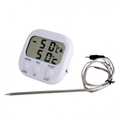 Grilltermometer Ugnstermometer Kökstermometer med timer och prob