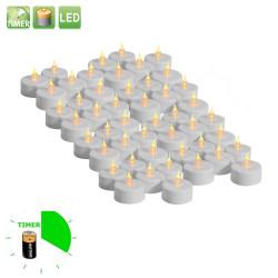 48 st söta värmeljus med timer, flimrande låga och batteri