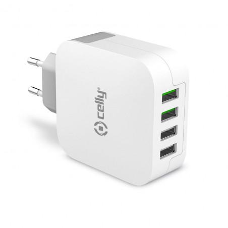 Celly USB-laddare 4xUSB 4,8A. Ladda flera enheter samtidigt!