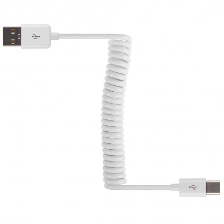 Laddkabel, USB-A standard - USB-C, spiral 3 meter, vit